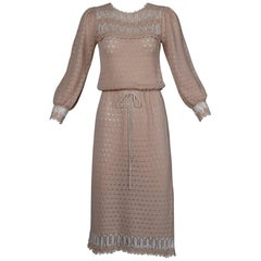 1970s Oscar de la Renta Vintage Dusty Pink/ Blush Knit + Crochet Sweater Dress