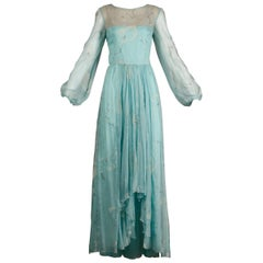 Unworn 1970s Richilene Vintage Blue Silk Chiffon + Metallic Silver Dress