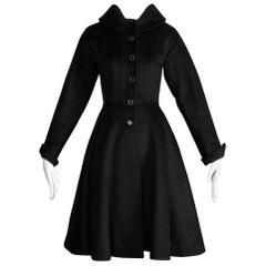 1950s Vintage Heavy Black Wool Swing Coat with Full Sweep Circle Skirt