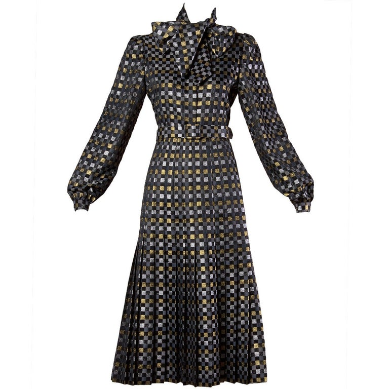 Vintage 1970s metallic checkered brocade 4-piece dress ensemble by Jill Richards. Pleated skirt, blouse, belt and sash. Pieces can be worn together or separately. Fits like a modern size medium. The blouse bust measures 38