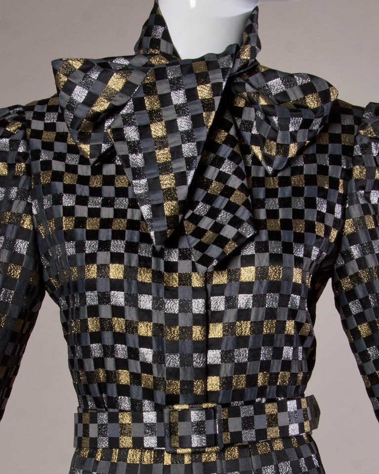 1970s Jill Richards Vintage Metallic Checkered Brocade 4-Piece Dress Ensemble In Excellent Condition For Sale In Sparks, NV