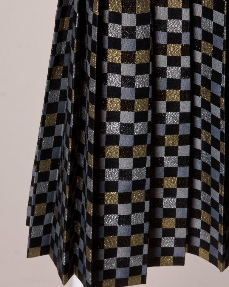 Women's 1970s Jill Richards Vintage Metallic Checkered Brocade 4-Piece Dress Ensemble For Sale