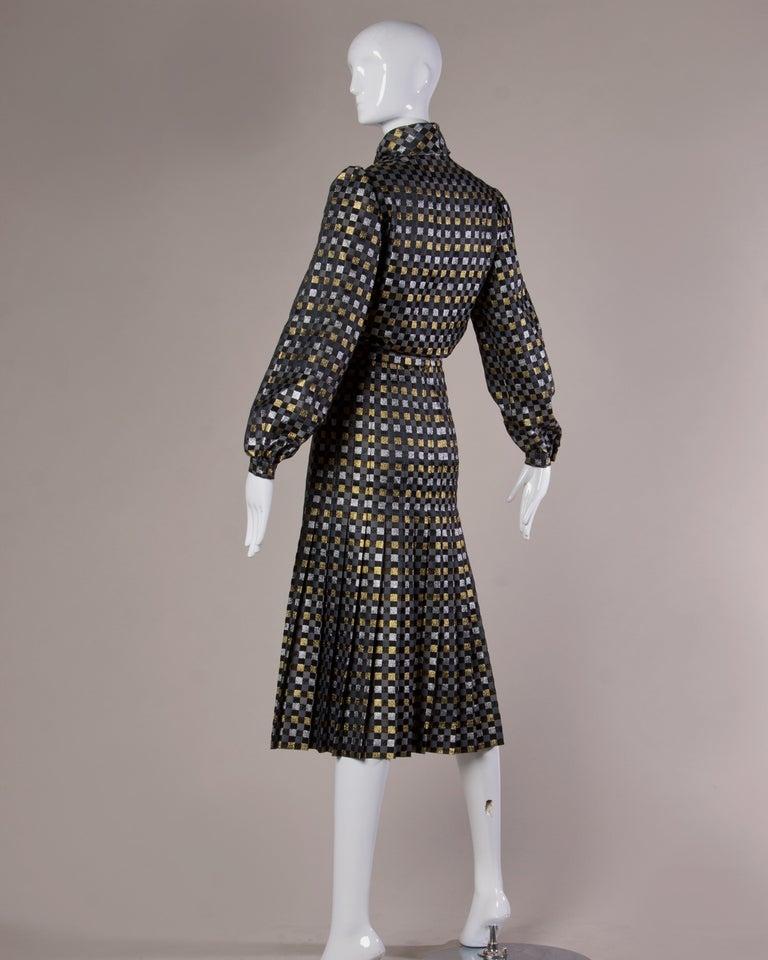 1970s Jill Richards Vintage Metallic Checkered Brocade 4-Piece Dress Ensemble For Sale 1