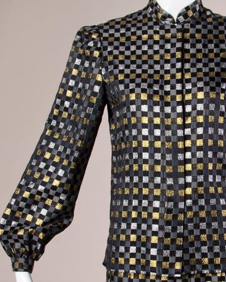 1970s Jill Richards Vintage Metallic Checkered Brocade 4-Piece Dress Ensemble For Sale 2
