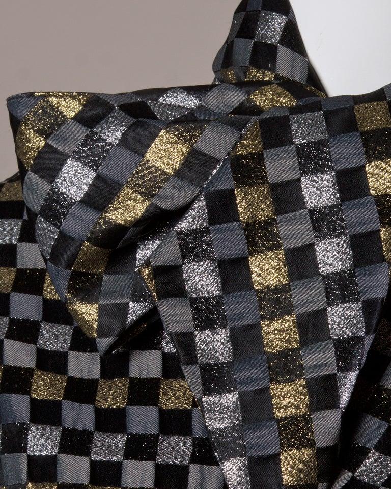 1970s Jill Richards Vintage Metallic Checkered Brocade 4-Piece Dress Ensemble For Sale 3