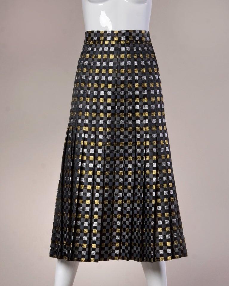 1970s Jill Richards Vintage Metallic Checkered Brocade 4-Piece Dress Ensemble For Sale 4