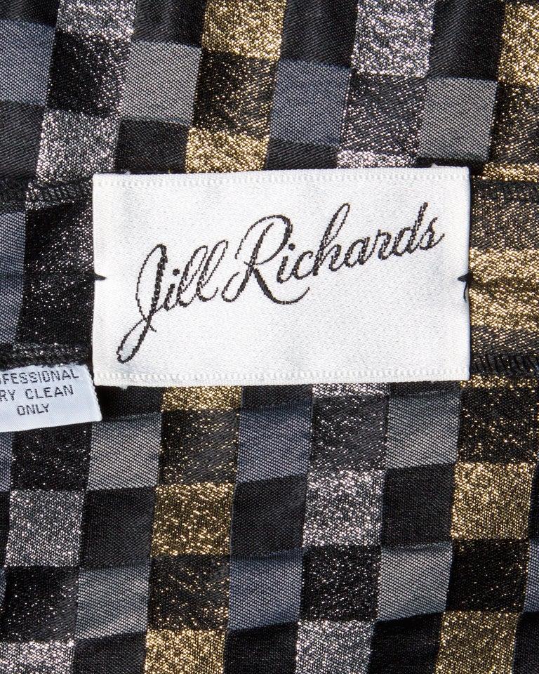 Black 1970s Jill Richards Vintage Metallic Checkered Brocade 4-Piece Dress Ensemble For Sale