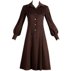 1970s Hermes Vintage Brown Cashmere + Silk Coat or Shirt Dress