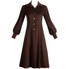 1970s Hermes Vintage Brown Cashmere + Silk Coat or Shirt Dress