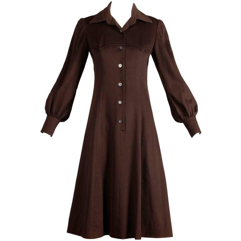 1970s Hermes Vintage Brown Cashmere + Silk Coat or Shirt Dress For Sale