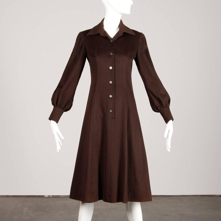 Black 1970s Hermes Vintage Brown Cashmere + Silk Coat or Shirt Dress For Sale