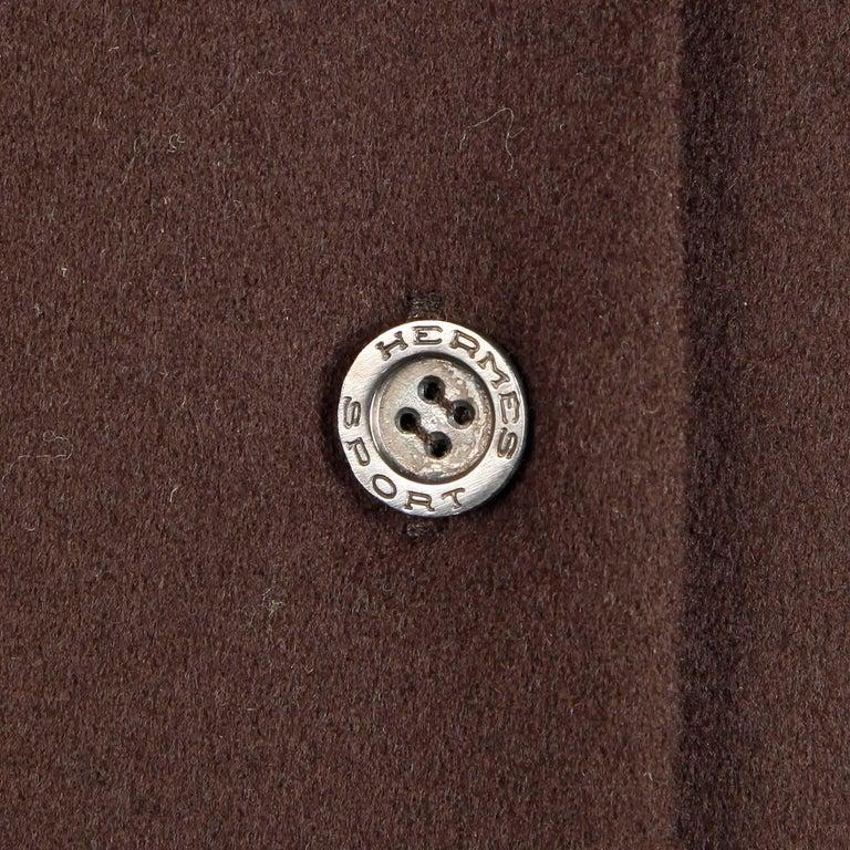 1970s Hermes Vintage Brown Cashmere + Silk Coat or Shirt Dress In Excellent Condition For Sale In Sparks, NV