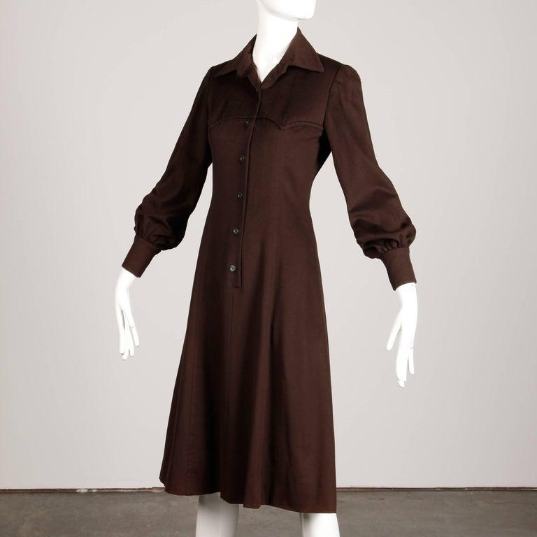 Women's 1970s Hermes Vintage Brown Cashmere + Silk Coat or Shirt Dress For Sale
