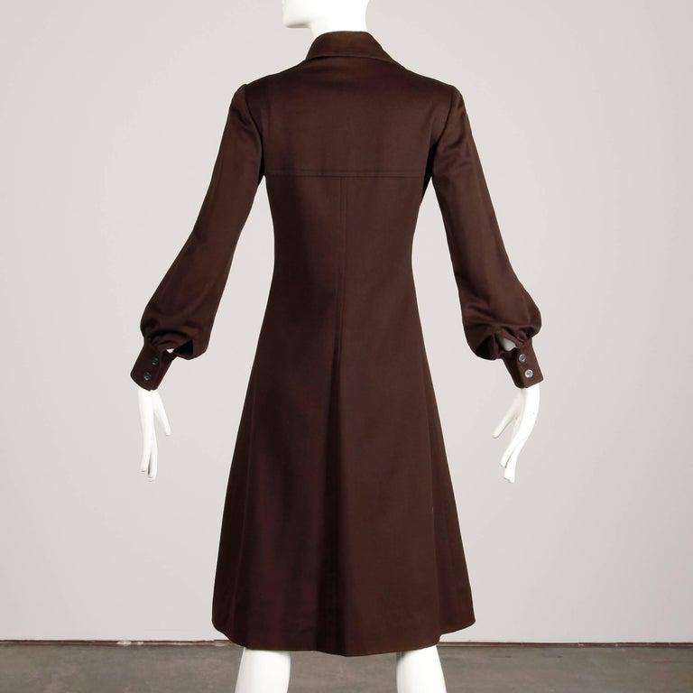 1970s Hermes Vintage Brown Cashmere + Silk Coat or Shirt Dress For Sale 1