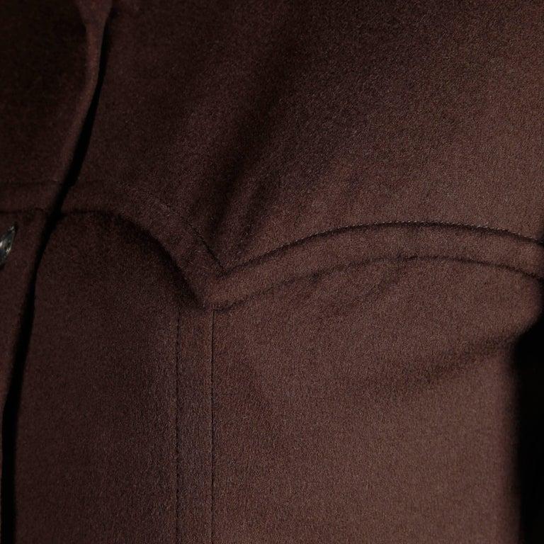 1970s Hermes Vintage Brown Cashmere + Silk Coat or Shirt Dress For Sale 2