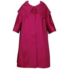 1960s Sandra Sage Vintage Fuchsia Pink Silk Satin Swing Coat with Pop Up Collar