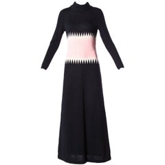 1970s Goldworm Vintage Pink + Black Color Block Wool Knit Sweater Maxi Dress