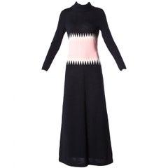1970s Goldworm Vintage Pink + Black Color Block Wool Knit Sweater Maxi Dress