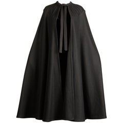 1970s Luba Rudenko Vintage Heavy Black Wool Cape Coat