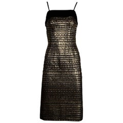 1960s Sexy Vintage Metallic Gold + Black Sheath Cocktail Dress with Velvet Trim