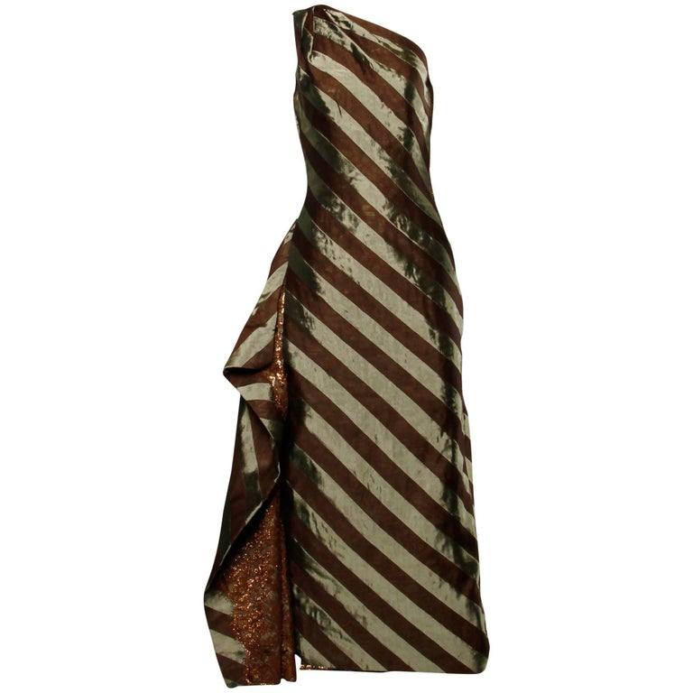 Documented 1999 Michael Casey Couture Vintage Striped Silk Evening Gown/ Dress For Sale 3