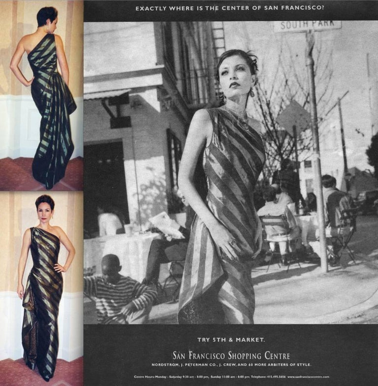 Documented 1999 Michael Casey Couture Vintage Striped Silk Evening Gown/ Dress In Excellent Condition For Sale In Sparks, NV