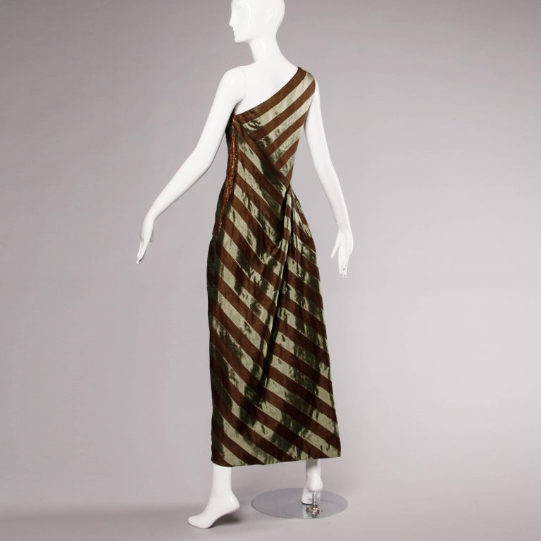 Documented 1999 Michael Casey Couture Vintage Striped Silk Evening Gown/ Dress For Sale 4