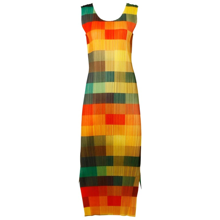 Orange Issey Miyake Vintage Pleats Please Avant Garde Checkered Maxi Dress For Sale