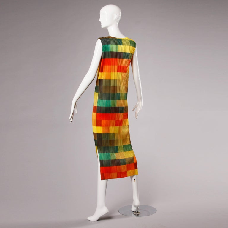 Women's Issey Miyake Vintage Pleats Please Avant Garde Checkered Maxi Dress For Sale