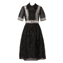 1960s Oscar de la Renta Vintage Black Organza Silk Metallic Lace Eyelash Dress