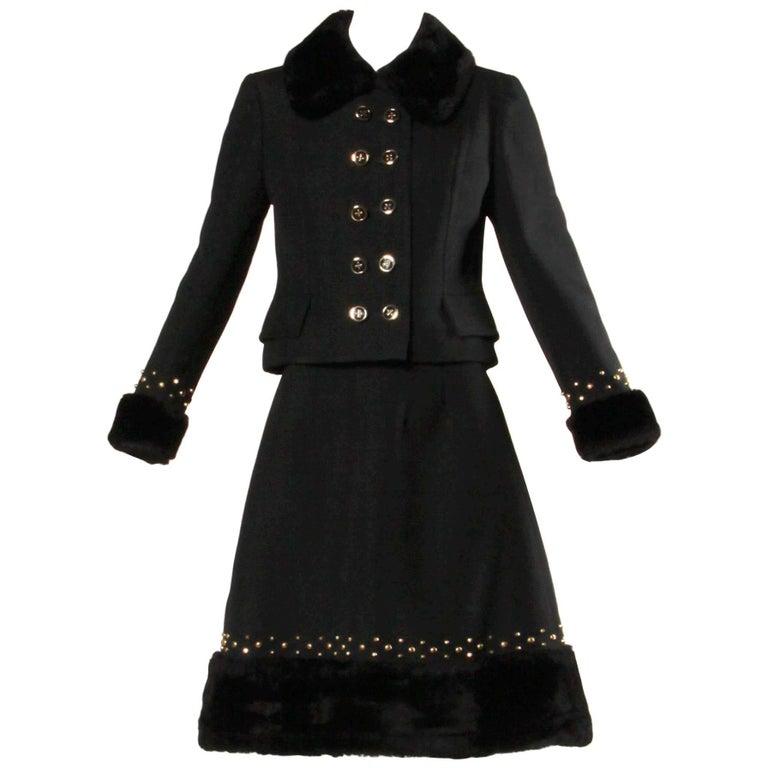 1960s Jean Patou Vintage Wool Jacket + Skirt Suit Ensemble with Faux Fur Trim