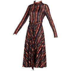 1970s Oscar de la Renta Vintage Jersey Knit Midi Dress with Matching Sash Belt