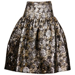 Valentino Vintage Metallic Silver + Gold Brocade Flare Skirt