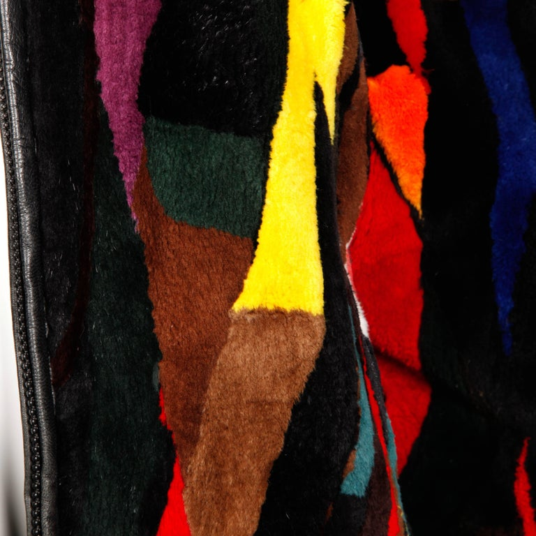 Women's Zuki-Attributed Vintage Dyed Multicolor Sheared Beaver Fur Coat or Jacket For Sale