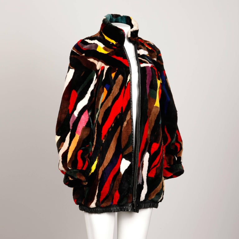 Black Zuki-Attributed Vintage Dyed Multicolor Sheared Beaver Fur Coat or Jacket For Sale
