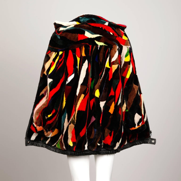 Zuki-Attributed Vintage Dyed Multicolor Sheared Beaver Fur Coat or Jacket For Sale 1