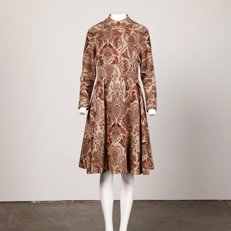 Brown 1970s Geoffrey Beene Vintage Wool Knit Paisley Tapestry Dress with Long Sleeves For Sale