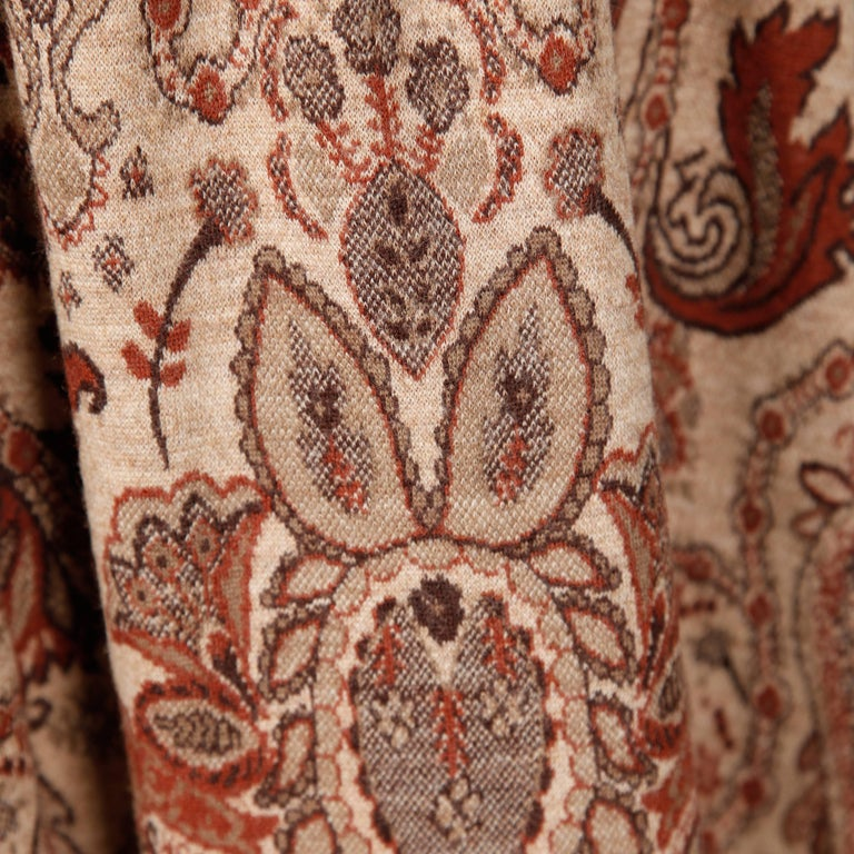 1970s Geoffrey Beene Vintage Wool Knit Paisley Tapestry Dress with Long Sleeves For Sale 1