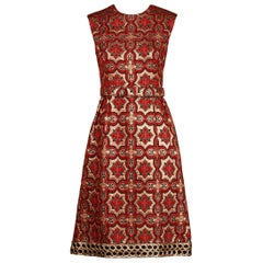 1960s Vintage Red + Black Brocade Dress with Matching Belt + Metallic Embroidery