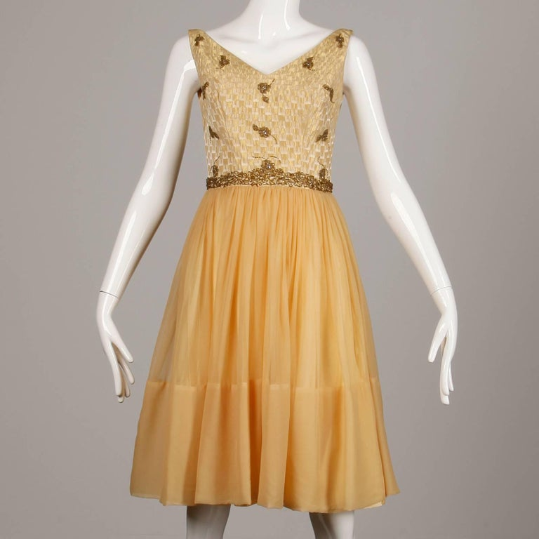Brown 1960s Mam'selle Vintage Gold Beaded Brocade + Silk Chiffon Cocktail Dress For Sale