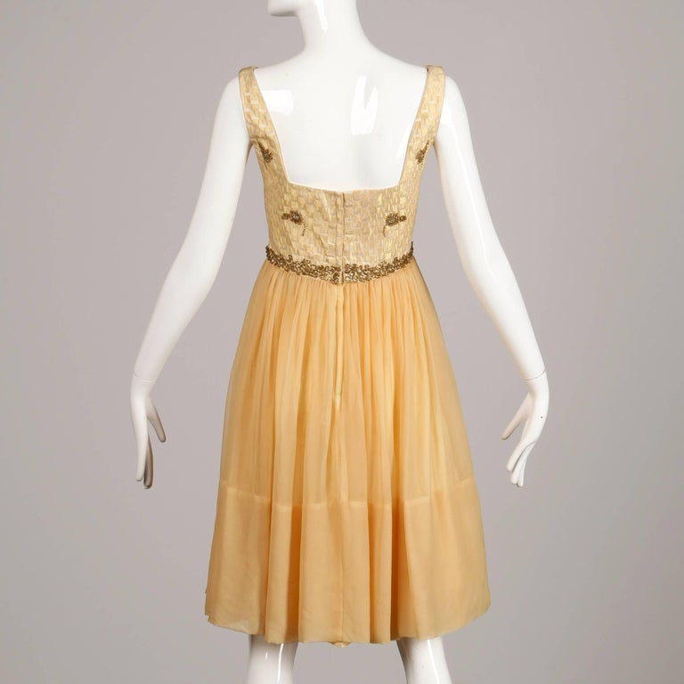 Women's 1960s Mam'selle Vintage Gold Beaded Brocade + Silk Chiffon Cocktail Dress For Sale