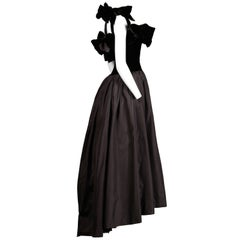1980s Lanvin Vintage Black Silk Velvet Evening Dress/ Gown with Bows and Train
