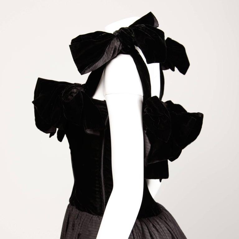 1980s Lanvin Vintage Black Silk Velvet Evening Dress/ Gown with Bows and Train For Sale 1