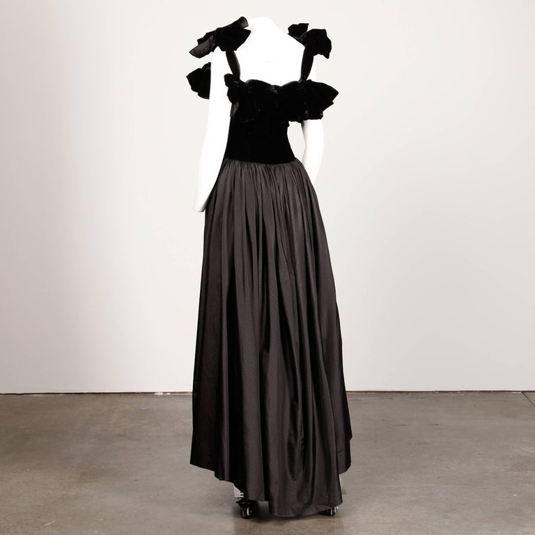 1980s Lanvin Vintage Black Silk Velvet Evening Dress/ Gown with Bows and Train For Sale 2