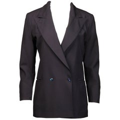 1990s Claude Montana Vintage Navy Blue Wool Boyfriend Blazer Jacket/ Coat