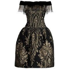 1980s Ann Lawrence Vintage Metallic Gold and Black Beaded Fringe Evening Dress