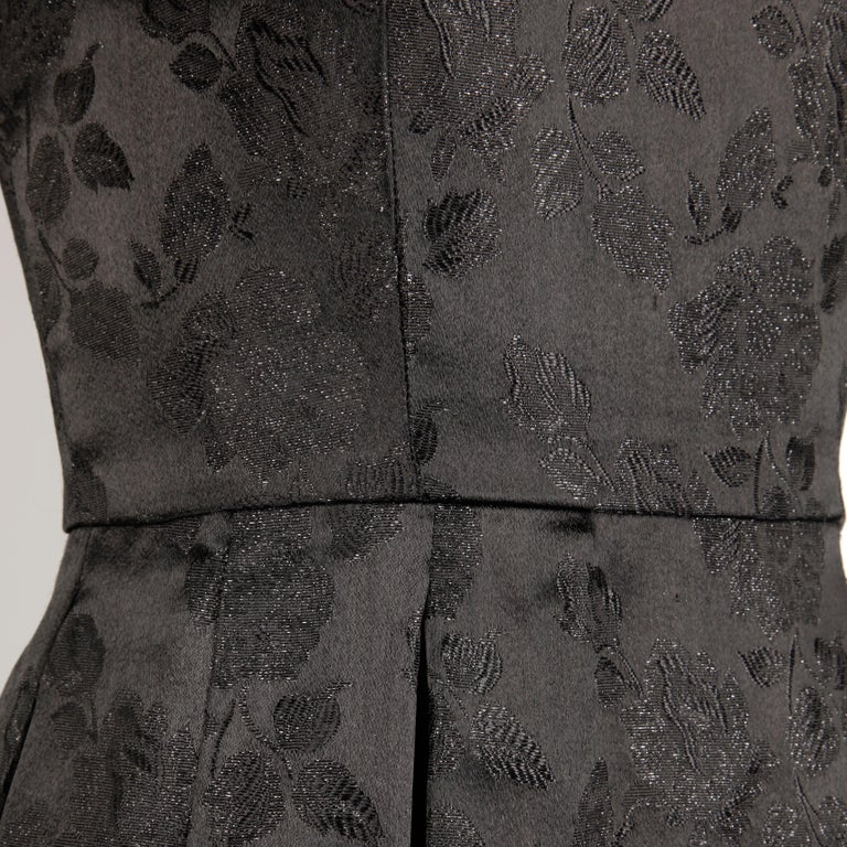 1960s Vintage Black Satin Floral Brocade Cocktail Dress with Box Pleats In Good Condition For Sale In Sparks, NV