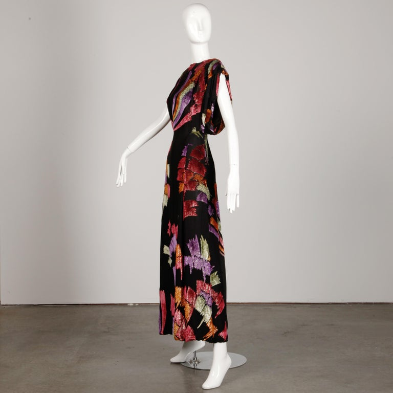Museum Quality 1970s Pauline Trigere Vintage Black Silk Evening Gown/ Dress In Excellent Condition For Sale In Sparks, NV