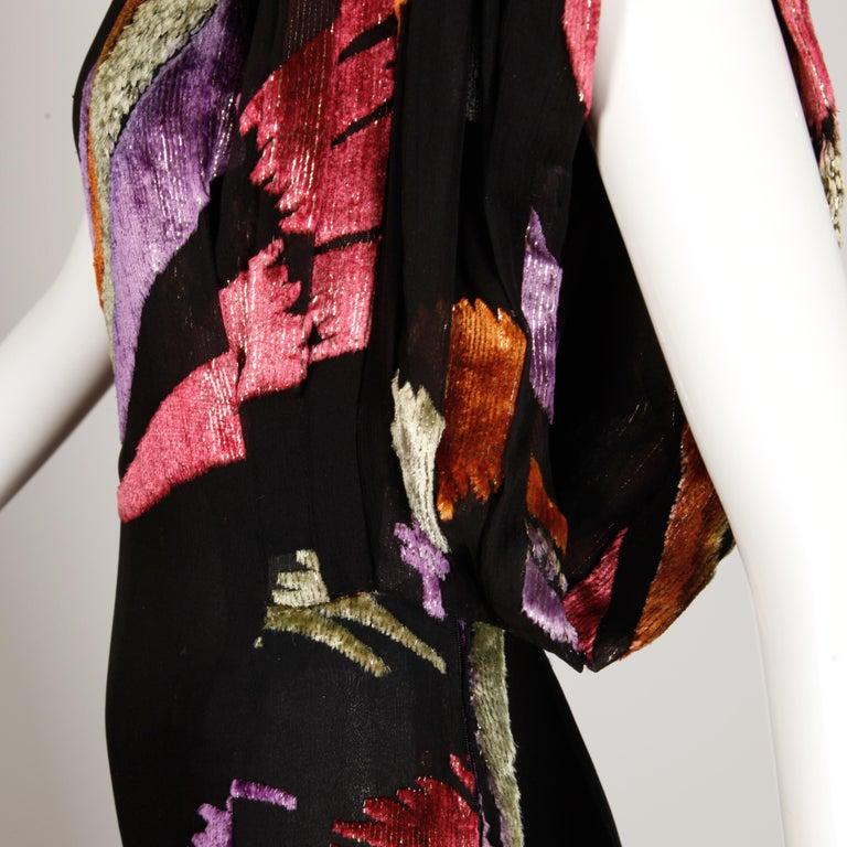 Women's Museum Quality 1970s Pauline Trigere Vintage Black Silk Evening Gown/ Dress For Sale