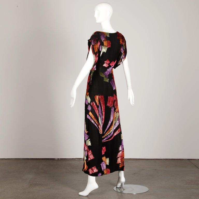 Museum Quality 1970s Pauline Trigere Vintage Black Silk Evening Gown/ Dress For Sale 1